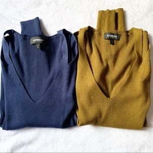 Express Bundle Ribbed V Neck Cut Out Sweaters